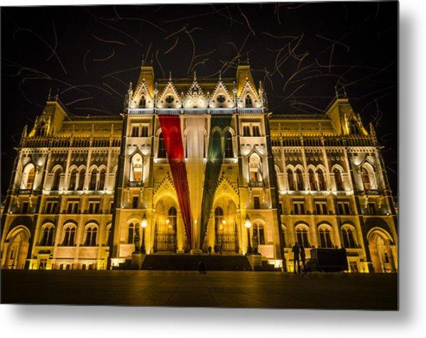 Hungarian Parliament At Night Metal Print