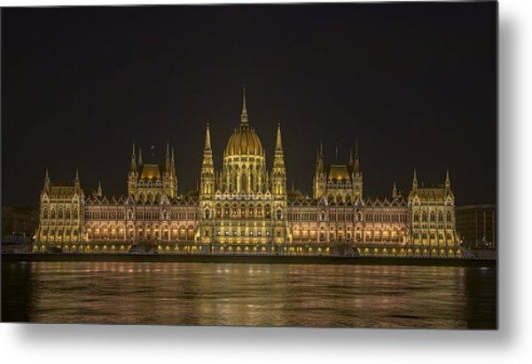 Hungarian Parliament Building Night Metal Print