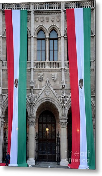 Hungary Flag Hanging At Parliament Budapest Metal Print