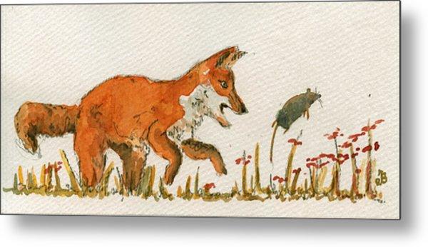 Hunting Red Baby Fox Metal Print