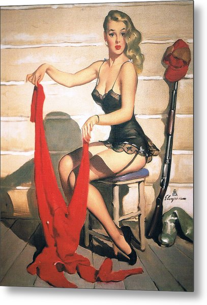 Hunting Time - Retro Pinup Girl Metal Print