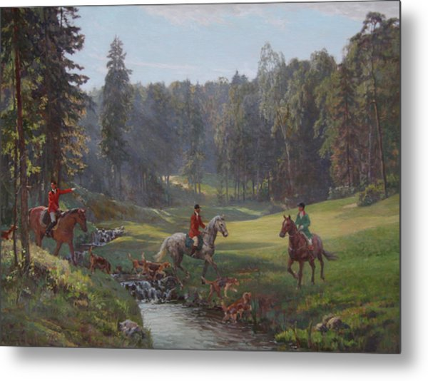 Hunting With Hounds Metal Print by Korobkin Anatoly