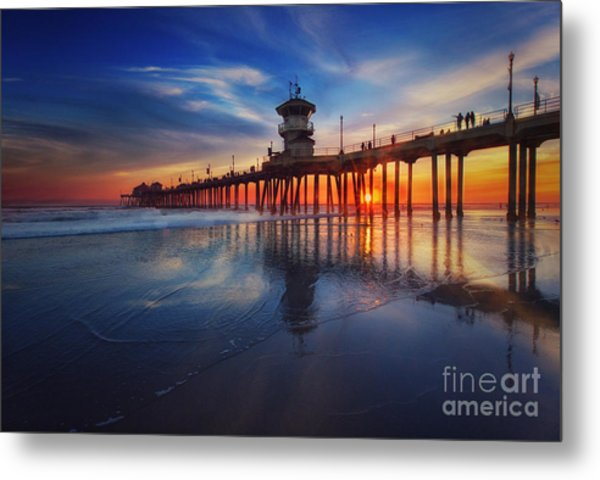 Huntington Beach Pier At Sunset Metal Print