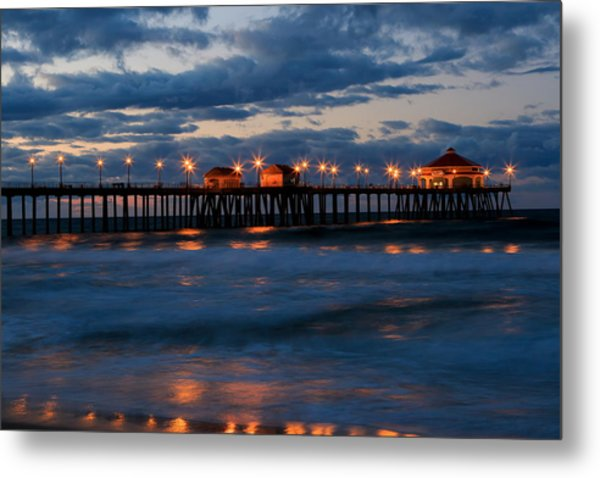 Huntington Beach Pier Lights  Metal Print