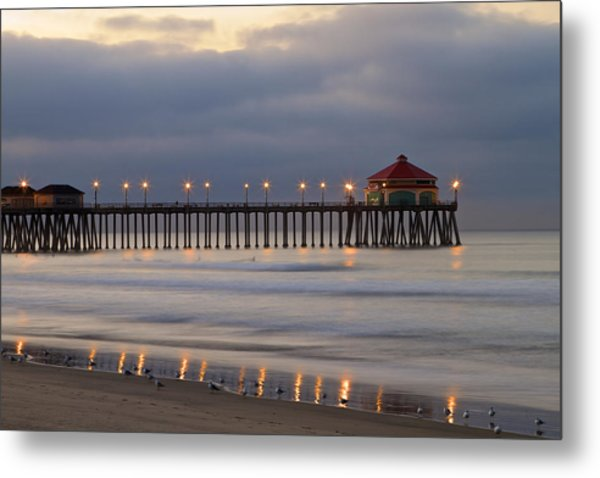 Huntington Beach Pier Morning Lights Metal Print
