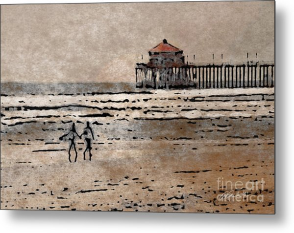 Huntington Beach Surfers Metal Print