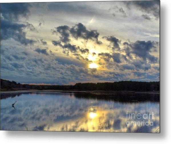 Huntington Sunset Reflection Metal Print
