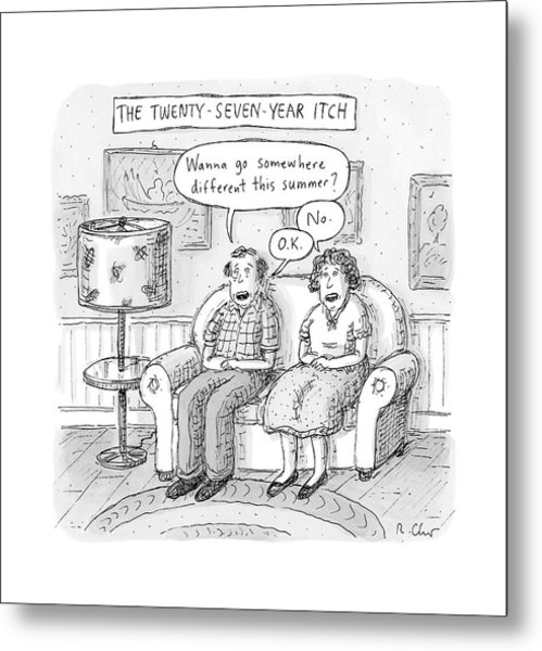 Husband And Wife Discuss Summer Plans On A Couch Metal Print