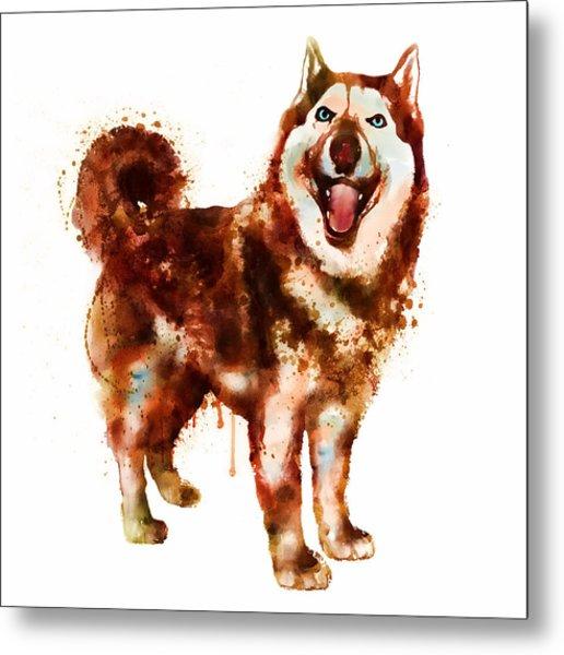 Husky Dog Watercolor Metal Print