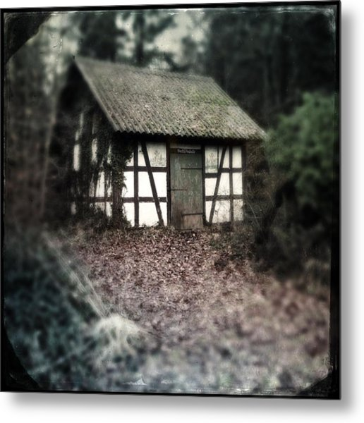 Hut In The Forest - Nature Park Schoenbuch Germany Metal Print