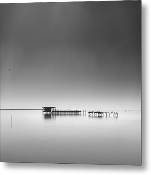 Hut In The Mist Metal Print by George Digalakis