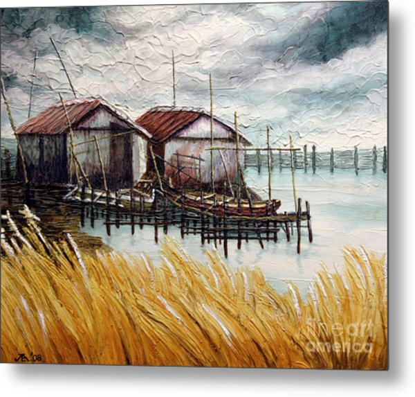 Huts By The Shore Metal Print
