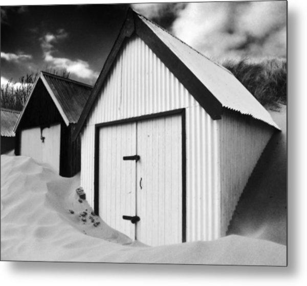 Huts In Sand Metal Print