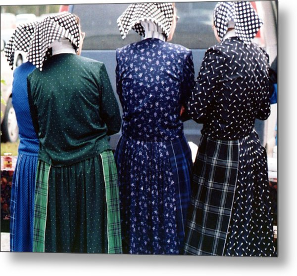 Hutterite Women At The Market Metal Print