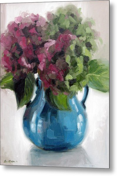 Hydrangeas In Blue Vase Metal Print