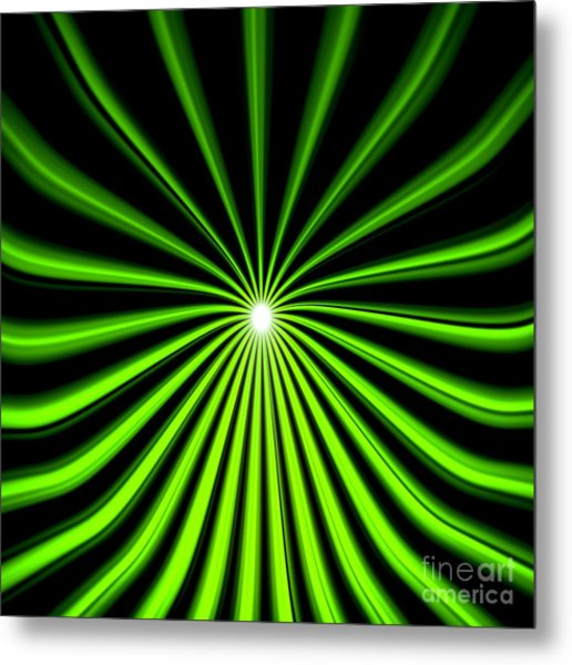 Hyperspace Electric Green Square Metal Print
