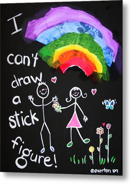 I Can't Draw A Stick Figure Mixed Media Kids Room Painting Metal Print