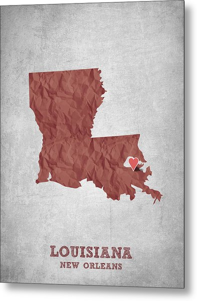 I Love New Orleans Louisiana - Red Metal Print
