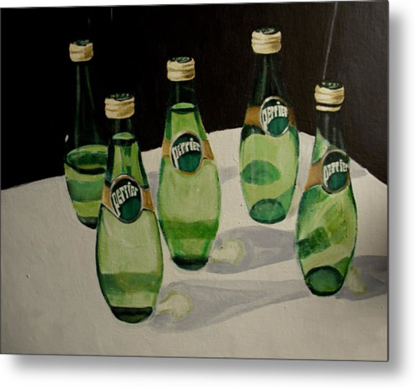 Perrier Bottled Water, Green Bottles, Conceptual Still Life Art Painting Print By Ai P. Nilson Metal Print
