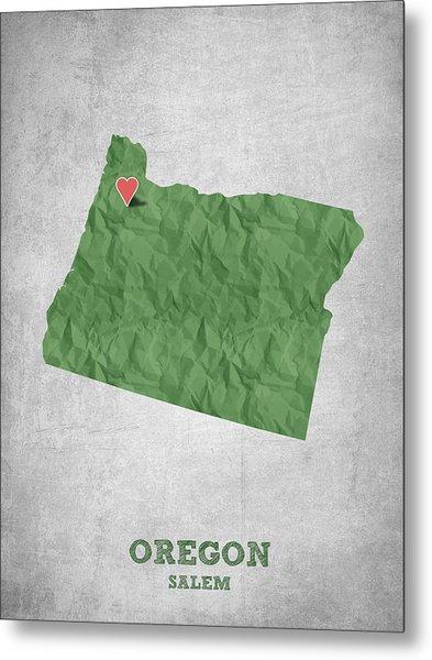 I Love Salem Oregon- Green Metal Print