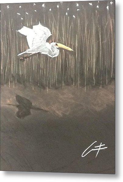 Ibis Over The Marsh Metal Print