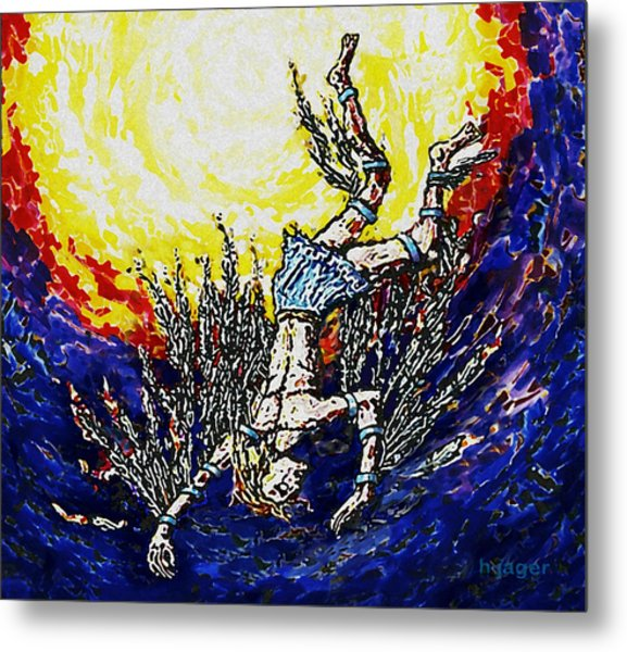Metal Print featuring the painting Icarus - The Fall Of Man by Hartmut Jager