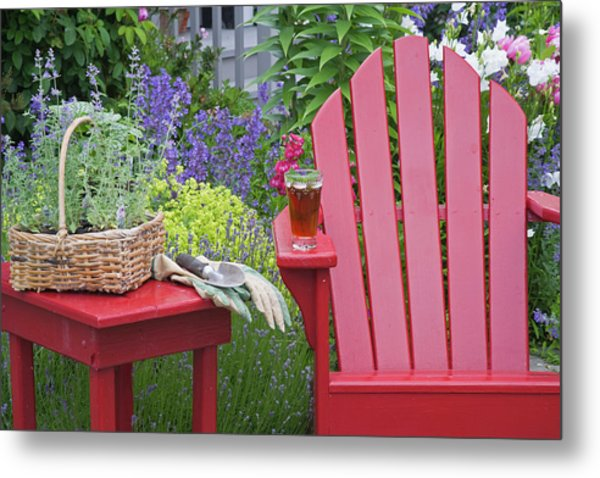 Ice Tea Rests On Red Chair While Metal Print
