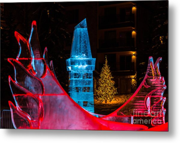 Ice Tower And Xmas Tree Metal Print
