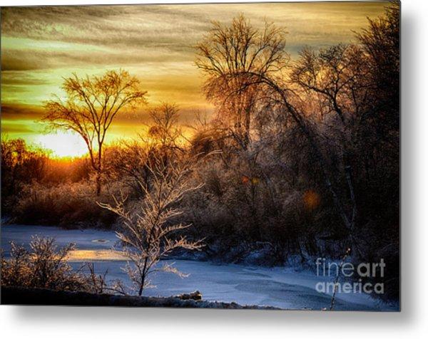 Iced Sunset Metal Print by Wanda Clowater