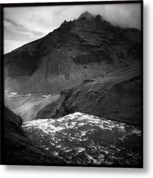 Iceland Black And White Square Format Metal Print