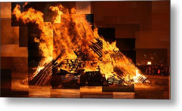 Iceland Bonfire Metal Print