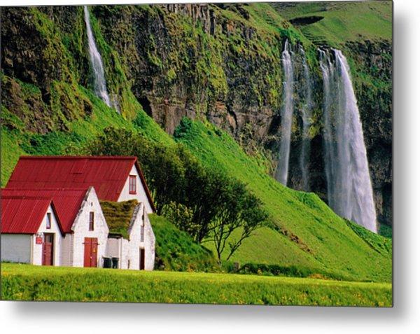 Iceland Farm Falls Metal Print