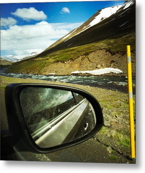 Iceland Roadtrip - Landscape And Rear Mirror Of Car Metal Print