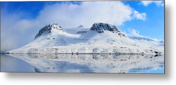 Icelandic Sunny Spring Day Panorama Metal Print