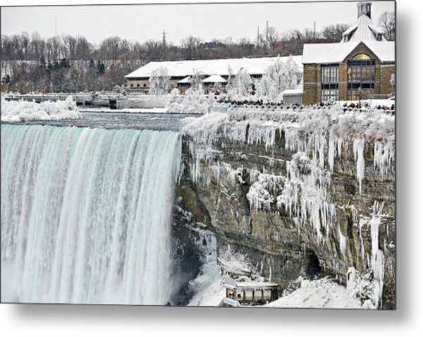 Icicles Over The Falls Metal Print
