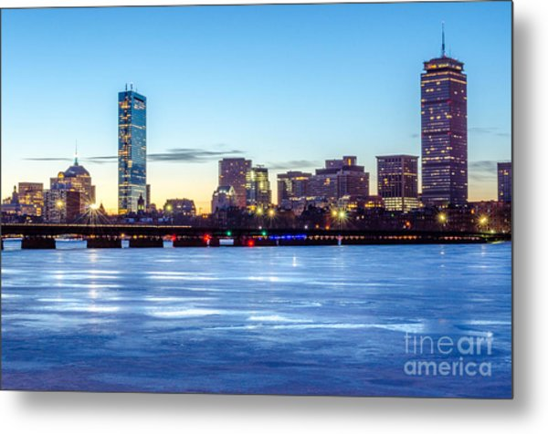 Icy Boston At Dawn Metal Print