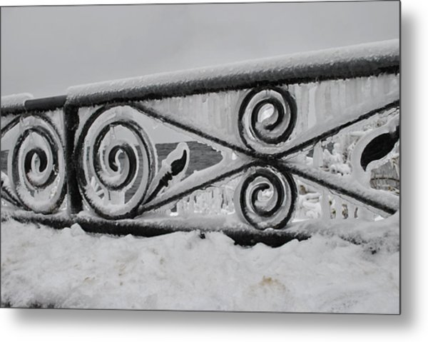 Icy Railing Metal Print by Mark Alan Perry