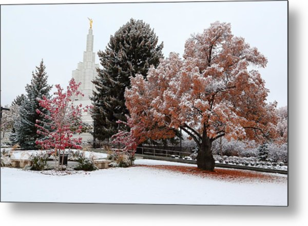 Idaho Falls Temple Winter Metal Print