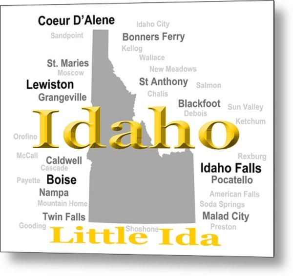 Idaho State Pride Map Silhouette  Metal Print