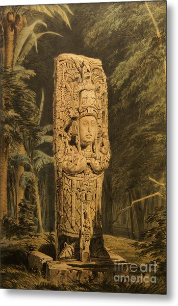 Idol At Copan By Frederick Catherwood Metal Print
