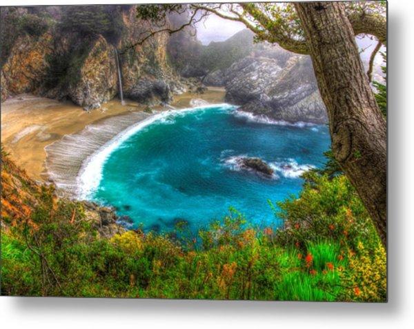Idyllic Cove-1a. Mc Way Falls Julia Pfeiffer State Park - Big Sur Central California Coast Spring Metal Print
