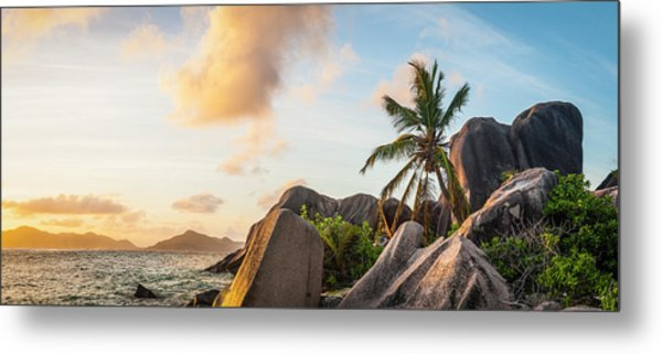 Idyllic Tropical Island Sunset Over Metal Print by Fotovoyager