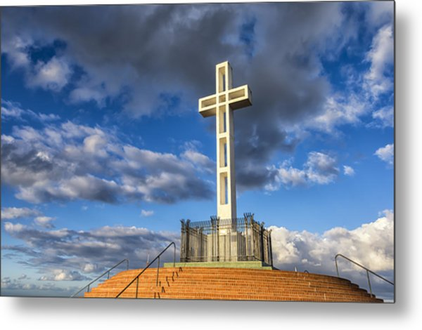 Illuminated Cross Metal Print