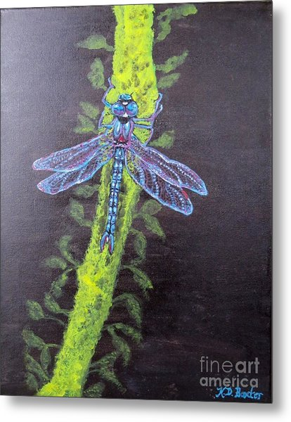 Illumination Of A Blue Dragonfly's Form At Nightfall Painting Metal Print