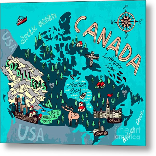 Illustrated Map Of Canada. Travel Metal Print