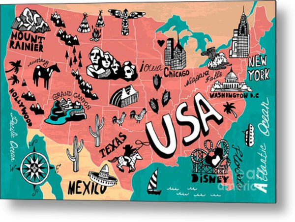 Illustrated Map Of Usa Metal Print