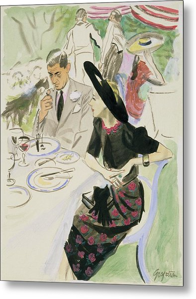 Illustration Of A Couple Dining Outdoors Metal Print by R.S. Grafstrom
