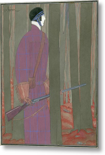 Illustration Of A Hunter In A Forest Metal Print by Georges Lepape