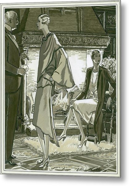 Illustration Of A Man And Two Women In A Country Metal Print by Leslie Saalburg