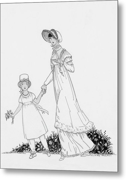 Illustration Of A Nineteenth Century Mother Metal Print by Claire Avery